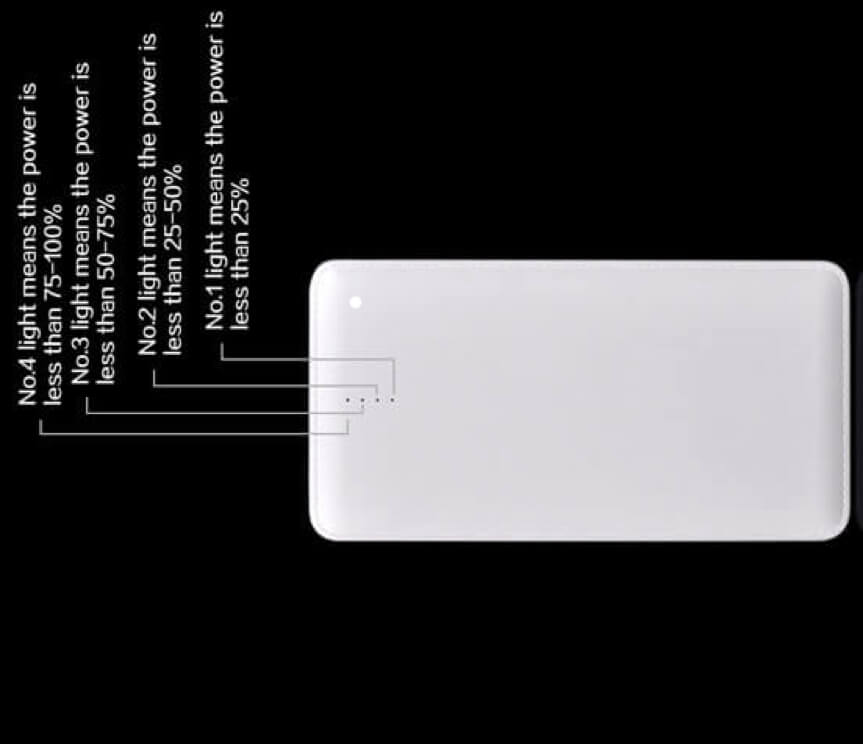 LED indicatorys on a power bank